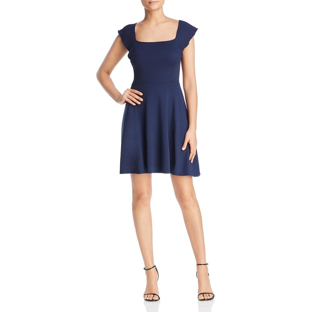 Three Dots Womens Casual Dress Fit & Flare Square Neck - Night Iris
