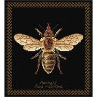 """8""""X8.25"""" 18 Count - Honey Bee On Aida Counted Cross Stitch Kit"""