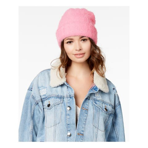FREE PEOPLE Womens White Pink Fitted Fuzzy Knit Winter Beanie Hat Cap
