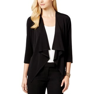 Connected Apparel Womens Petites Cardigan Top Draped Open Front