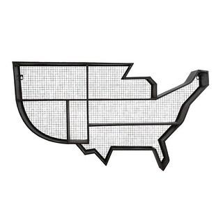 "42"" Spirit of Americana United States Map Mesh Iron Hanging Wall Shelf"