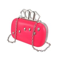 Glossy Knuckle Duster Clutch Purse with Skull Studs/Rhinestones