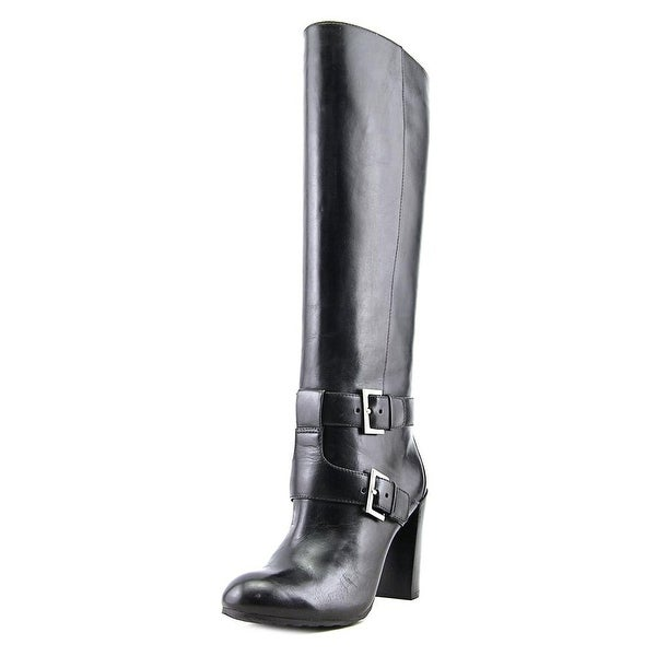 Nine West Skylight Women Pointed Toe Leather Black Knee High Boot