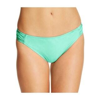 California Waves Juniors Ruched Side Tab Bikini Bottom Mint Green Large L