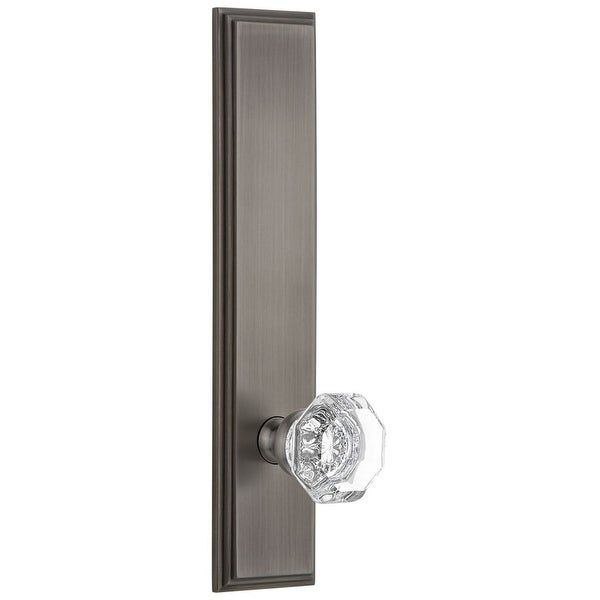 Grandeur CARCHM_TP_PRV_238_RH Carre Solid Brass Tall Plate Rose Right Handed Privacy Door Knob Set with Chambord Crystal Knob