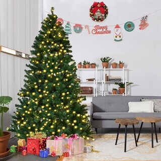 Costway 7.5Ft Pre-Lit PVC Artificial Christmas Tree Hinged w/ 400 LED Lights & Stand New - green