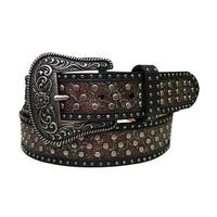 Dan Post Western Belt Womens Metallic Rivets Turquoise Tan