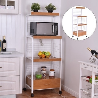 Costway 62\'\' Bakers Rack Microwave Stand Rolling Kitchen Storage ...