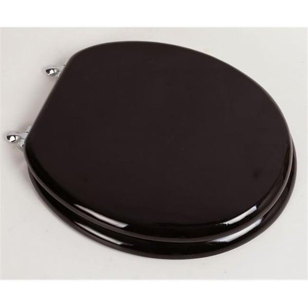 Designer Solid Round Oak Wood Toilet Seat Dark Brown With