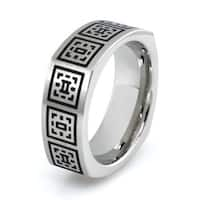 Squared Stainless Steel Ring w/ Greek Pattern Design