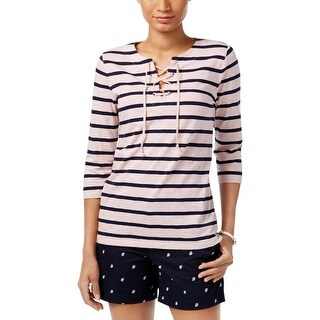 Tommy Hilfiger Womens Henley Top Striped Lace-Up