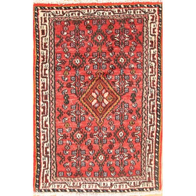 """Vintage Traditional Hamedan Persian Area Rug Hand-knotted Wool Carpet - 2'5"""" x 3'8"""""""