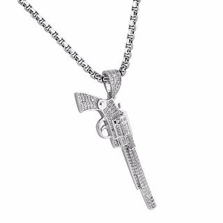 Weapon Gun Designer Pendant Iced Out 18k Silver Tone Stainless Steel Necklace