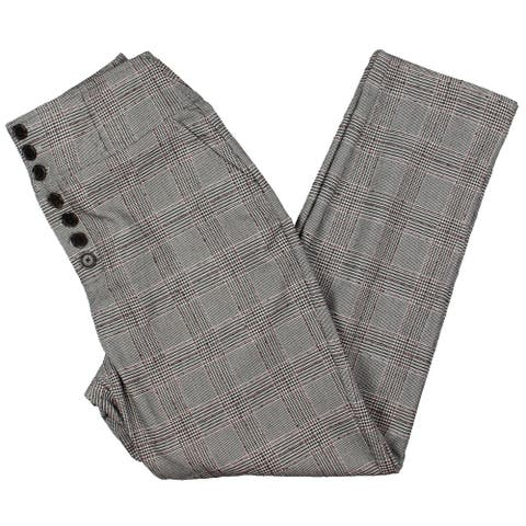 Joie Womens Ankle Pants Glen Plaid Button Fly - Black/Red/White - 2
