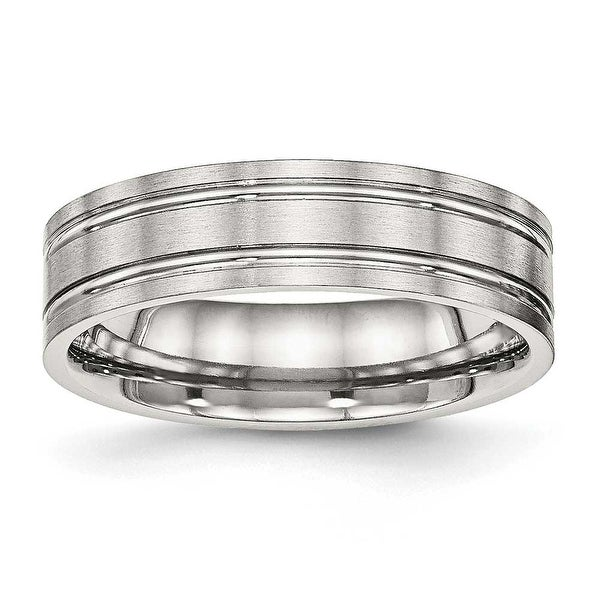 Stainless Steel Brushed and Polished Ridged 6 mm Band Ring - Sizes 6 - 13