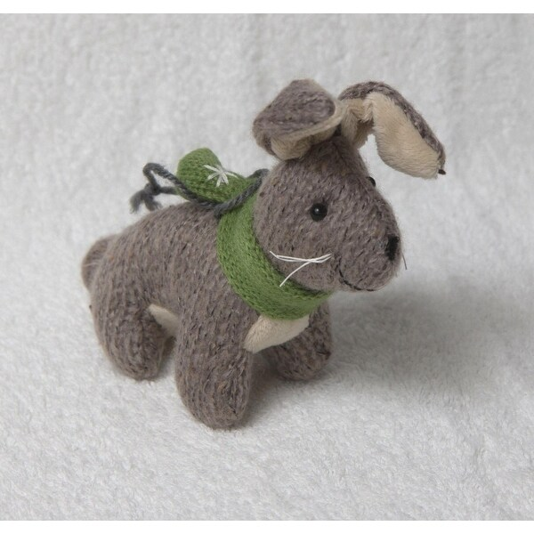 "6"" Gray Plush Bunny Rabbit with Green Scarf Christmas Figure Ornament"