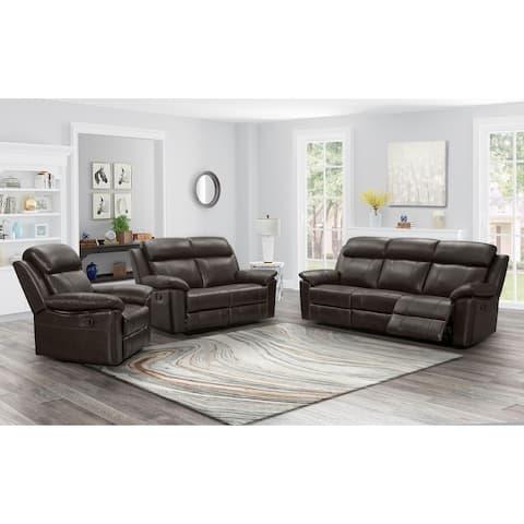Abbyson Braylen Top Grain Leather Reclining Sofa Set