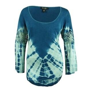 Jessica Simpson Women's Plus Size Laurine Tie-Dyed Top (2X, Smoke Blue Tie Dye) - smoke blue tie dye - 2x