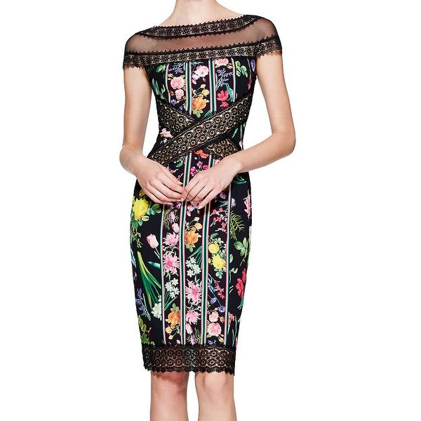 916c9b60041 Shop Tadashi Shoji NEW Black Womens Size 12 Floral Print Lace Sheath ...