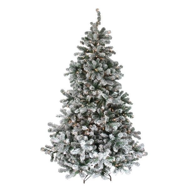 7.5' Pre-Lit Flocked Natural Emerald Artificial Christmas Tree - Warm Clear Lights - green