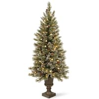 4' Pre-Lit Glittery Bristle Entrance Artificial Christmas Tree – Warm White LED Lights - green