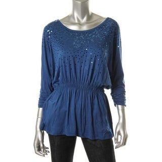 Grace Elements Womens Pullover Top Sequined Scoop Neck - s