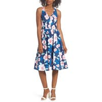 Eliza J Blue Womens Size 6 Floral V-Neck Tie-Back A-Line Dress