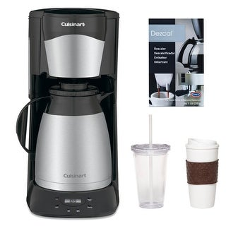 Cuisinart DTC975BKN 12 Cup Programable Thermal Coffeemaker in Black + 2-Pack Coffee Mug & Iced Beverage Cup + Accessory Kit