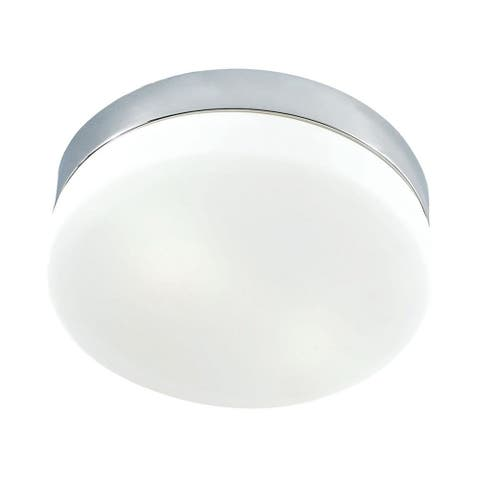 Dunoon Drive - Two Light Flush Mount Metallic Grey Finish With White Opal Glass