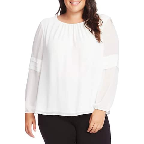 Vince Camuto Pleated Long Sleeve Chiffon Blouse, Pearl Ivory, 3X