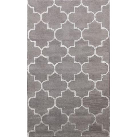 """Trellis Wool/ Silk Modern Oriental Foyer Area Rug Hand-Tufted - 4'0"""" x 6'0"""""""
