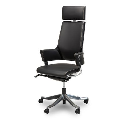 AICO Queue Black High Back Swivel Chair with Headrest