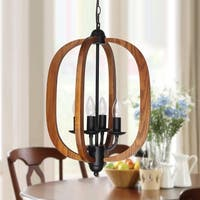 Lantern Farmhouse 4-Light Wood Chandelier