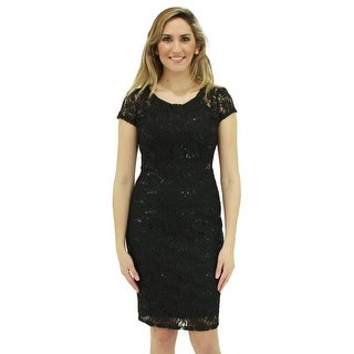 Signature Weaves Women's Black Dress in Lace with Sequins
