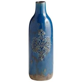 Cyan Design Large Garden Grove Vase Garden Grove 14.5 Inch Tall Terra Cotta Vase - blue glaze