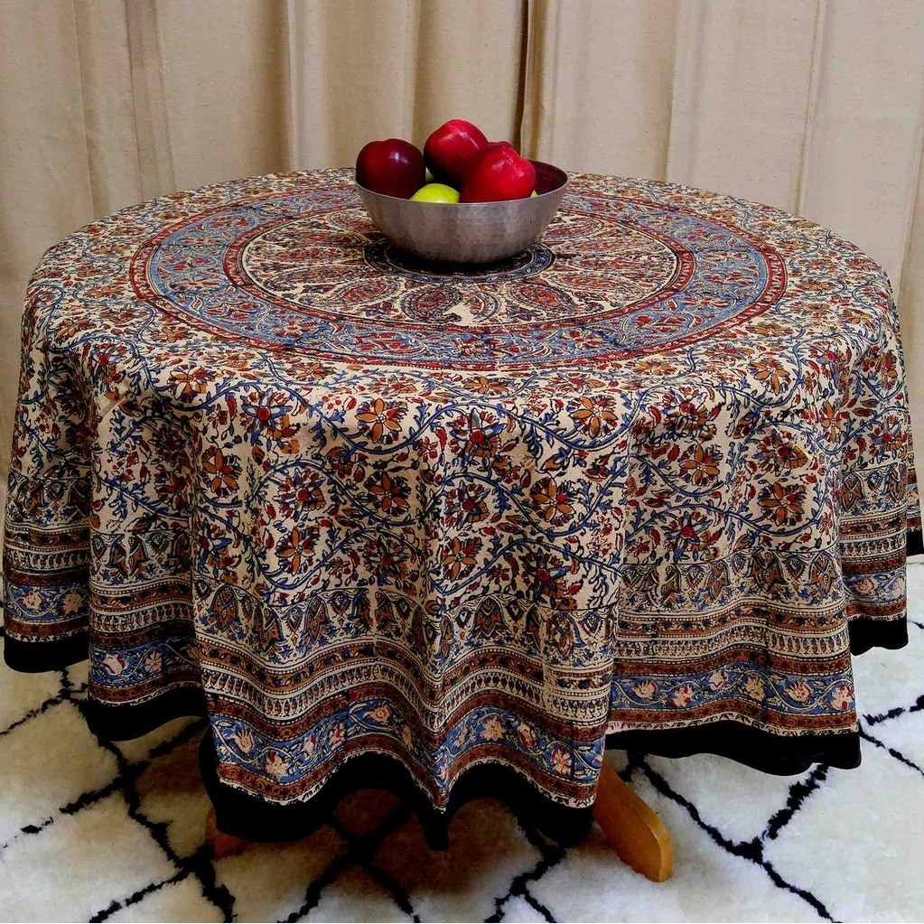 Handmade Kalamkari Mandala Floral Block Print 100% Cotton Tablecloth  Rectangular 60x90 Inch Square 60x60 Round ...