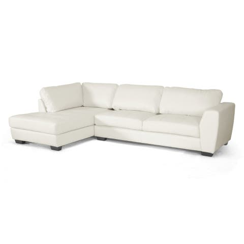 Orland White Bonded Leather Sectional Sofa Set w/Left Facing Chaise - Bonded Leather