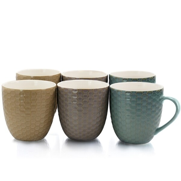 Elama Honeysuckle 6-Piece 15 oz. Mug Set, Assorted Colors. Opens flyout.