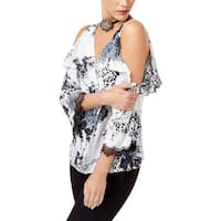 Kobi Womens Ciara Casual Top Printed Cold Shoulder