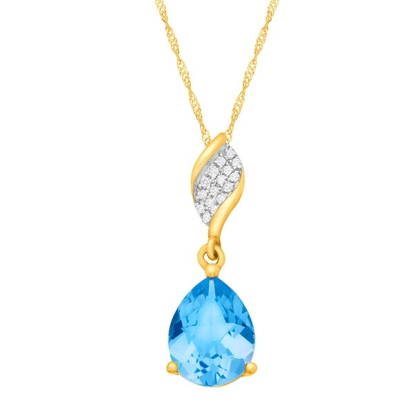 """2 1/4 ct Pear-Cut Natural Swiss Blue Topaz Pendant Necklace with Diamonds in 10k Yellow Gold, 18"""""""