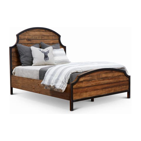 Urban Frontier Pine & Iron Bedframe with Scooped Headboard