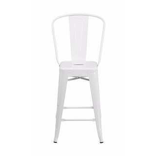 Offex 24'' High White Metal Indoor-Outdoor Counter Height Stool [OF-CH-31320-24GB-WH-GG]