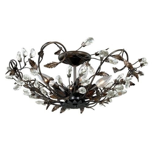 "Vaxcel Lighting C0023 Jardin 4 Light 19"" Wide Flush Mount Indoor Ceiling Fixture with Accent Crystal Beads - 19 Inches Wide"