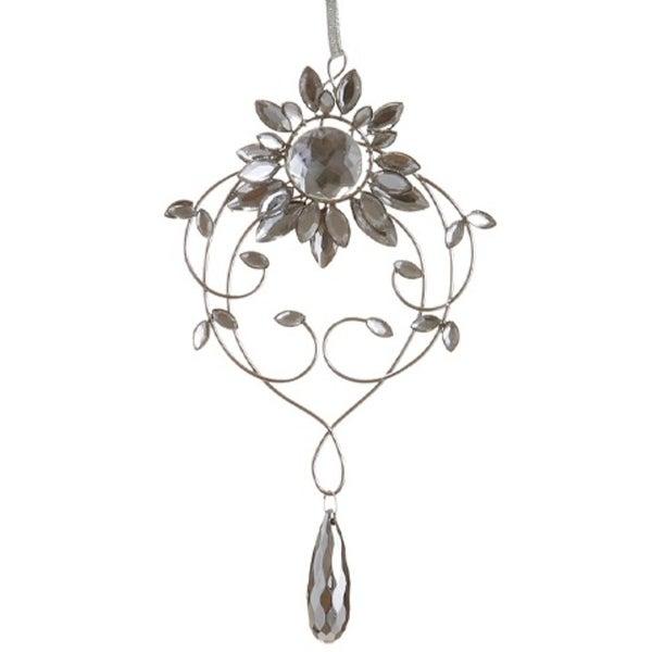 "7.75"" Elegant Silver Flower Jeweled Drop Christmas Ornament"