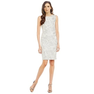 Calvin Klein Sleeveless Sequined Lace Cutout Back Sheath Cocktail Dress