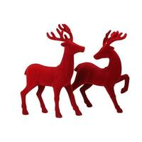 Set of 2 Red Textured Standing Reindeer Christmas Tabletop Decoration 18""