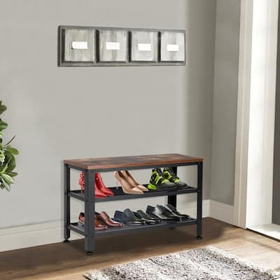 Industrial Shoe Bench, 3-Tier Shoe Rack, Storage Organizer with Seat for Entryway, Living Room