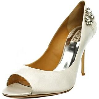 Badgley Mischka Seduce Women Peep-Toe Canvas White Heels