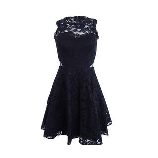Xscape Women's Cutout Lace Illusion Dress - Black