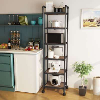 Mieres 63.5 in. H x 16.1 in. W x 12.2 in. D Industrial Style 6-Tier Shelving Unit with Lockable Casters